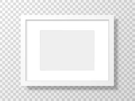 White frame on transparent backdrop. Realistic picture mockup. Clean template with soft shadow. 3d blank with border. Interior object isolated. Vector illustration