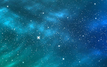 Space background. Blue starry sky. Deep cosmos with shining stars. Cosmic backdrop with stardust. Realistic color galaxy. Vector illustration