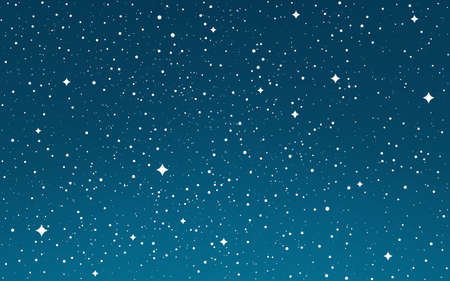 Cosmos flat stars. Space gradient background. Starry sky wallpaper. Galaxy with stardust. Cosmic night for web, poster, brochure. Vector Illustration