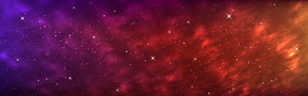 Space background wide. Colorful cosmos banner. Realistic galaxy with bright stars. Nebula with shining constellations. Futuristic cosmic wallpaper. Vector Illustration