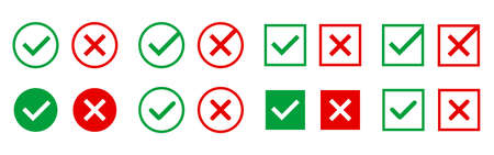 Approved and rejected icons. Green and red symbols on white background. Right and wrong marks for web design or app. Checkmarks with circle or square. Vector illustration 矢量图像