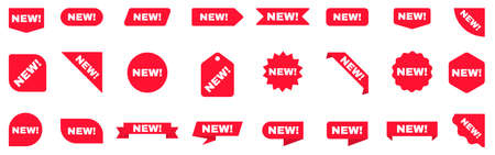 New sticker set. Sale ribbons collection. New labels on white background. Arrival tags template. Red shopping stickers. New product badge. Vector illustration 矢量图像