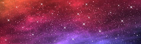 Space background wide. Long banner with starry cosmos. Realistic cosmic texture with nebula. Colorful galaxy. Bright universe with stars. Vector illustration