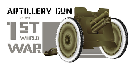 warlike: Drawing artillery gun of World War I