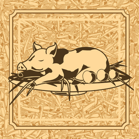 suckling: seamless pattern of roast suckling pig and background of forks and knives Illustration