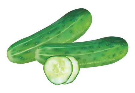 cucumber salad: pepinos frescos y rodajas de pepino para ensalada