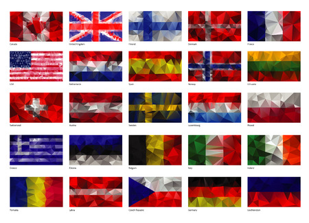 world flags: Set of flags of the world