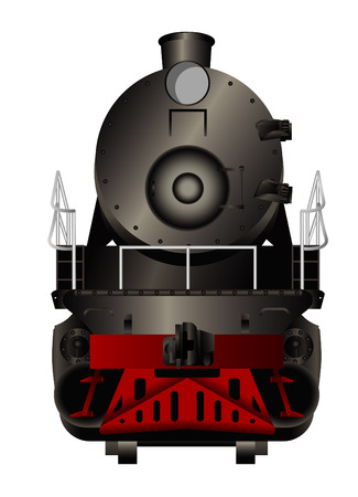 steam locomotive: Front view of a old steam locomotive Illustration