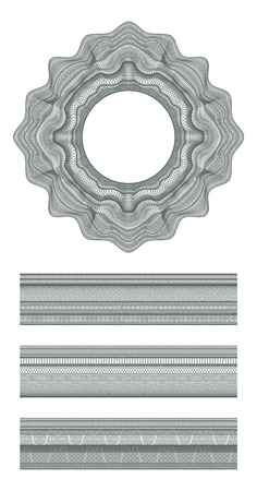 bank note: Set of Guilloche decorative elements and borders for design certificate, diploma and bank note