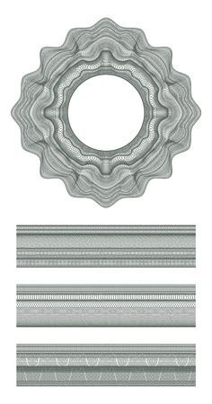 Zestaw elementów dekoracyjnych i giloszowego granicy do dyplomu, świadectwa projektowania i banknotów