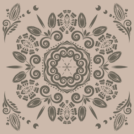 vintage seamless pattern with floral ornament with elements of berries and leaves
