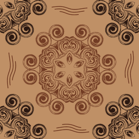 whorl: abstract seamless pattern in the form of hexagons and swirling circles on a beige background