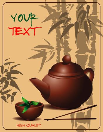 chinese tea cup: bandera con la tetera y la taza de t� en estilo chino en el fondo del bamb� dibujo
