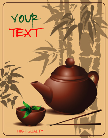 banner with teapot and cup of tea in Chinese style on the background of the drawing bamboo