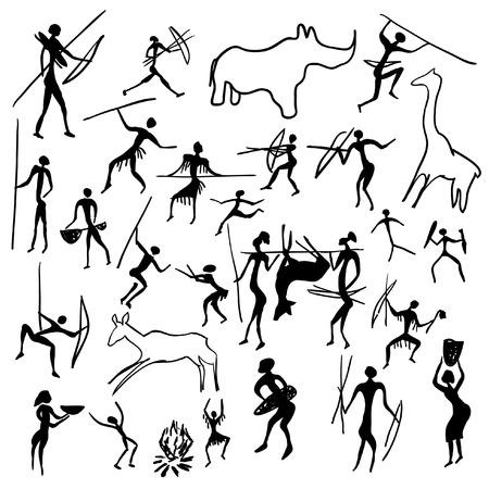 peinture rupestre: Ensemble de peintures rupestres de vecteurs avec des sc�nes de chasse et de vie