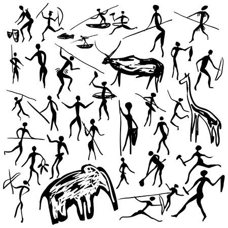 Conjunto de pinturas rupestres de vectores con escenas de caza y de la vida