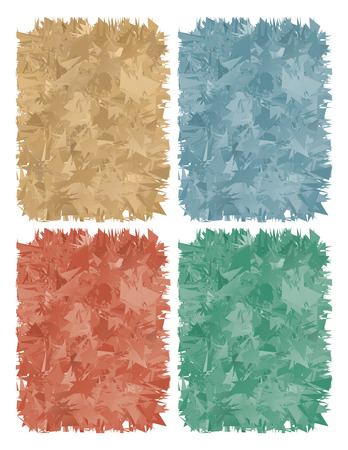 木の削りくずを三角形の形で色とりどりの抽象的な背景のセット