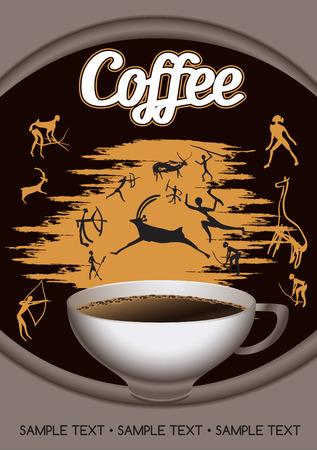 デザイン テンプレート ラベルを描いた狩猟と岩絵の背景にコーヒーのカップで  イラスト・ベクター素材