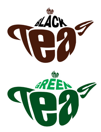 black tea: set vector logos from two teapots from letters for green and black tea