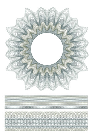 set of Guilloche decorative elements and borders for design certificate, diploma and bank note