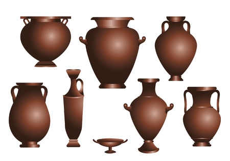ancient greek: vector set of amphorae