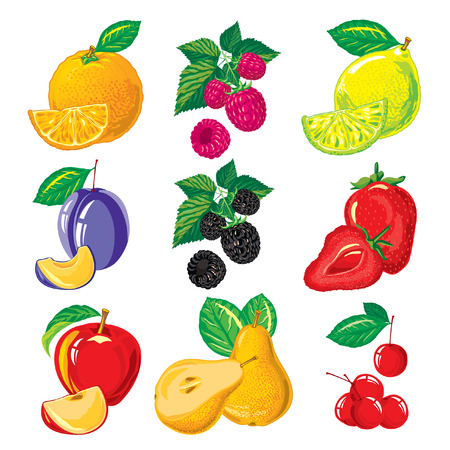 set of ripe fruit and slices of fruit, berries on a white background Illustration
