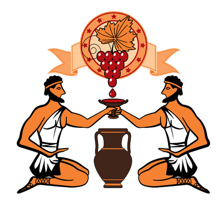 amphora: stylized vector bunch of grapes with leaves on the background of a circle with a ribbon on two Greeks with a cup of wine and amphora, painted in the ancient Greek style