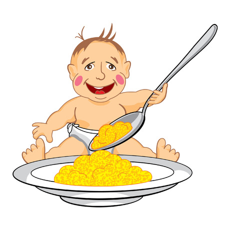 eats: drawing cartoon smiling baby which eats with a spoon porridge from dish Illustration
