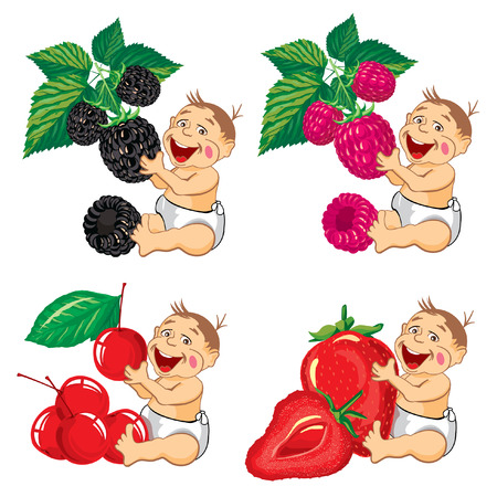 black family smiling: drawing cartoon smiling baby with a blackberries, strawberries, raspberries and cherry Illustration
