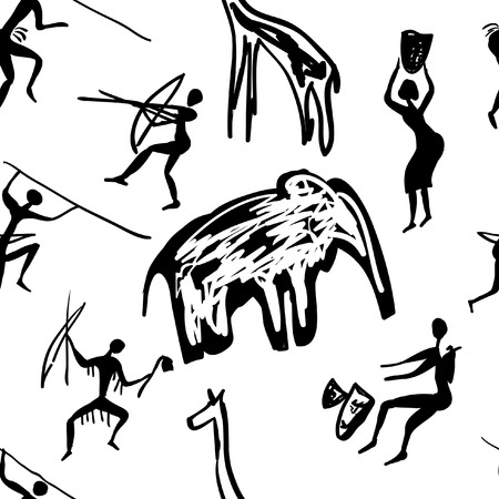 vector seamless pattern of rock paintings with scenes of hunting and life Иллюстрация