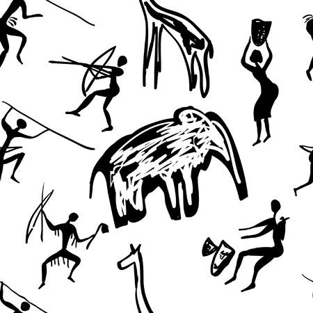 pintura rupestre: vector sin patrón de pinturas rupestres con escenas de caza y de la vida