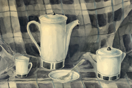 milk jug: watercolor still life of a teapot, milk jug, cups, saucers and tea spoons on a checkered background drapery