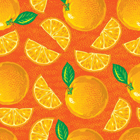 seamless pattern of cartoon vector oranges with slices Vector