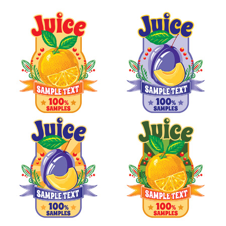 set of templates for labels of juice from the fruit of orange and plum
