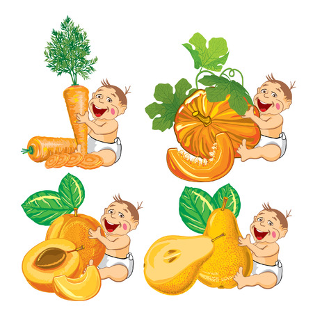 drawing cartoon smiling baby with a pumpkin apricot carrot and pear and slices Vector