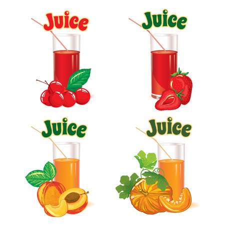 set of glasses for juice from the cherries strawberries peaches and pumpkins Vector