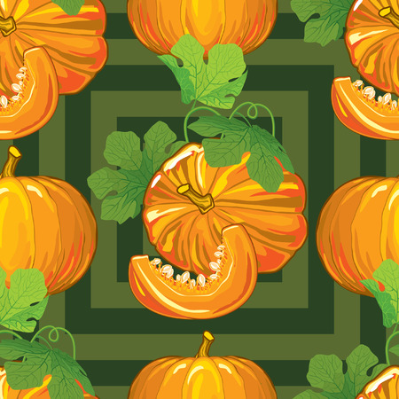 pumpkin seeds: seamless pattern of ripe pumpkins with leaves and pumpkin slices with seeds on a green background