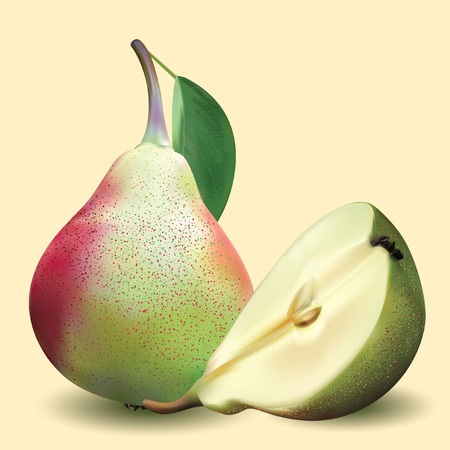 Big realistic pear with green leaves and half pear on a yellow background