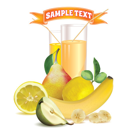 banana leaf: two glasses with juice and straw lemon and slice of lemon bananas and slice of banana pear with leaf and half of pear ripe strawberry and slice of strawberry on a white background with a ribbon for inscription at the top Illustration