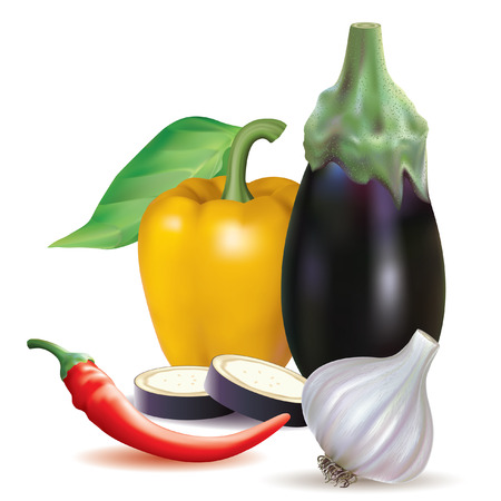 poignant: set of different vegetables and slices on a white background Illustration
