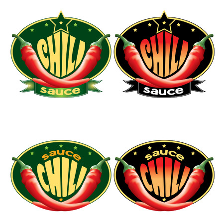 chilly: set of templates labels for sauce chili Illustration