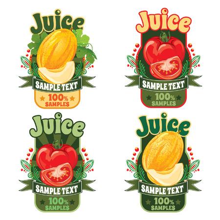 熟した甘い黄色メロンとトマトの新鮮な果物からジュースのラベルのテンプレートの設定します。  イラスト・ベクター素材