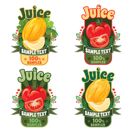 set of templates for labels of juice from the fruit of ripe sweet yellow melon and fresh red tomato Çizim