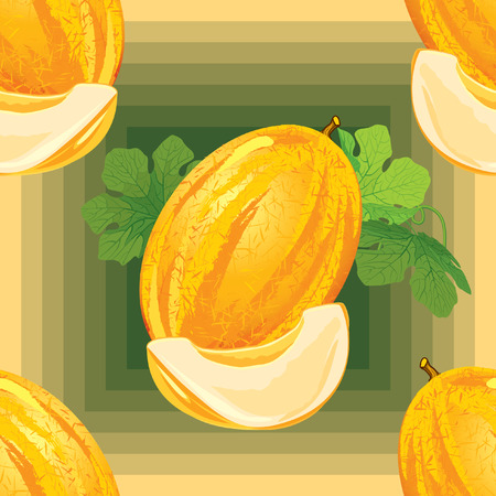 melon: seamless pattern of ripe melon with leaves and melon slices Illustration