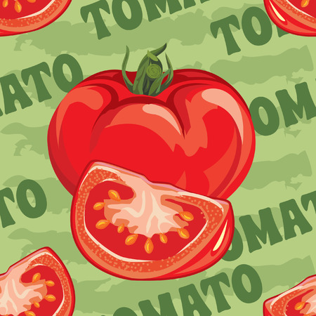 tomato juice: seamless pattern of ripe red tomato and tomato slices