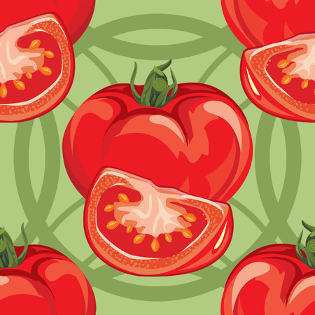 tomato slices: seamless pattern of ripe red tomato and tomato slices