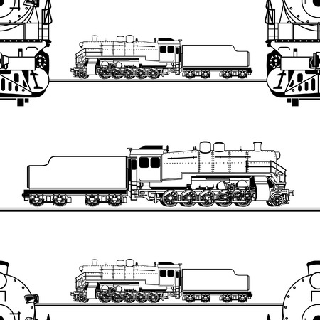 loco: seamless pattern in the form of a line drawing of a steam locomotive on a white background Illustration
