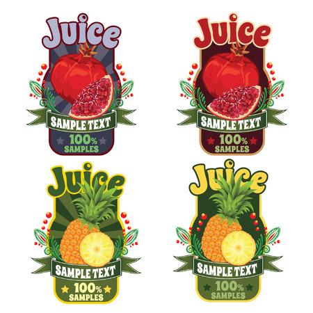 frutas: conjunto de plantillas para etiquetas de jugo de la fruta de color rojo granate y pi�a Vectores