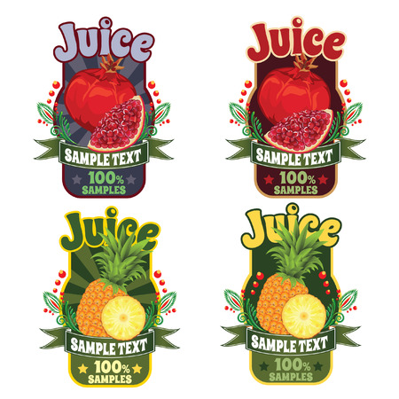 set of templates for labels of juice from the fruit of red garnet and pineapple