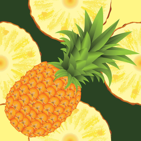 pineapple juice: seamless pattern of ripe yellow pineapple and slice of pineapple
